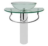Mueble De Vidrio De Pedestal y Acero Inoxidable 78x48cm