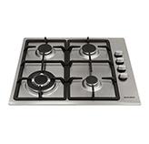 Cocina a Gas con 3 Quemadores + 1 Triple Llama de Acero Inoxidable de 58x50cm Mastermaid FLAT