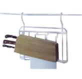 Organizador Cromo con Porta Cuchillos de Madera Colgante de Cocina para Tubo