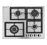 Cocina a Gas con 3 Quemadores +1 Triple Llama de Acero Inoxidable 62x51cm Mastermaid