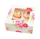 Caja Floral Treat para 4 Cupcake en Set de 2 Piezas Daisy Darcy