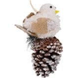 Adorno Colgante Piñón con Pájaro Blanco