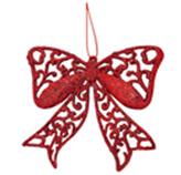 Adorno Navideño Colgante Calado con Diseño de Lazo Rojo
