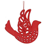 Adorno Navideño Colgante  Rojo con Diseño de Pájaro