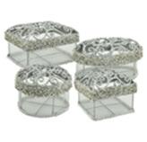 Caja Navideña para Regalos Plata en Set de 4 Piezas