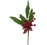 Rama Navideña   Ponsetia Verde Rojo 30.5cm