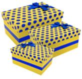 Caja de Regalo  Amarilla con Puntos Azules en Set de 3 Piezas