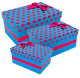 Caja de Regalo  Azul con Puntos Fucsia en Set de 3 Piezas