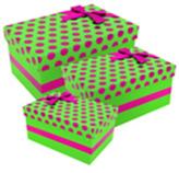 Caja de Regalo Verde con Puntos Fucsia en Set de 3 Piezas