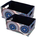 Canasta en Set de 2 Piezas Beige Azul Concepts