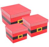 Caja de Regalo Cuadradas con Diseño de Santa en Set de 3 Piezas
