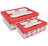 Caja de Regalo Rectangular Roja con Blanco en Set de 2 Piezas