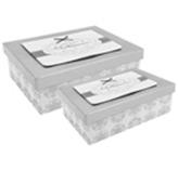 Caja de Regalo Rectangular Plateada con Blanco en Set de 2 Piezas