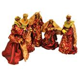 Nacimiento Rojo con Dorado en Set de 5  Piezas