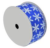 Cinta Navideña Azul Copos de Nieve Blancos 10yds