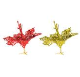 Flor Navideña Clip Rojo Oro en Set de 2 Piezas