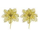 Pick Flor Set 2  Piezas Oro