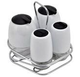 Alcuzas con 4 Frascos Blanco de Vidrio Concept