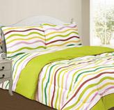 Edredón Reversible Blanco Amarillo Verde con Diseño de Ondas