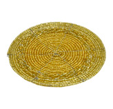 Porta Vaso Dorado Trenzado   Canutillo en Set de 4 Piezas