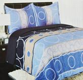 Edredón Reversible Beige con Azul y Celeste con Diseños de Círculos