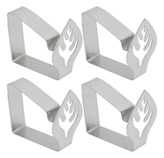 Clip Sujeta Mantel Inoxidable Diseño de Hoja en Set de 4 Piezas