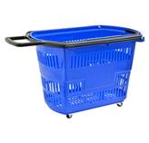 Cesto Plástico Azul con Garrucha