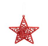 Estrella Colgante Tejida Oro Bronce Roja