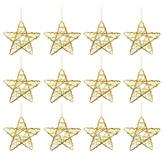 Estrella Colgante  Set de  12 Piezas  Oro