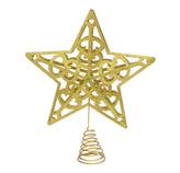 Punta de Árbol Estrella Calada Oro 30cm