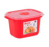 Contenedor  Rojo con Tapa Transparente para Microondas Decor