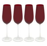 Copa de Champagne Rojo Transparente 4 Piezas Santini