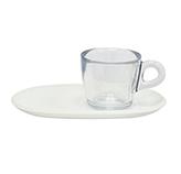 Taza Transparente para Café con Bandeja Blanca 4 Piezas Omada