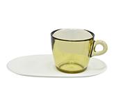 Taza Café para Té con Bandeja Blanca 4 Piezas Omada