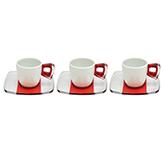 Taza Blanca Roja Transparente con Plato para Espresso en Set de 12 Piezas Omada