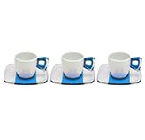 Taza Blanca Turquesa Transparente con Plato para Espresso en Set de 12 Piezas Omada