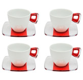 Taza Blanca Rojo Transparente con Plato para Té en Set de 8 Piezas Omada