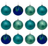 Bola Navideña Xmas Teal Azul Verde de 12 Piezas