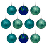 Bola Navideña Xmas Teal Azul Verde de 10 Piezas