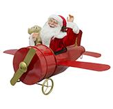 Santa con Avión Musical y Luz Led 60cm