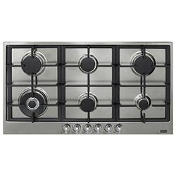 Cocina a Gas con 5 Quemadores  + 1 Triple Llama de Acero Inoxidable de 90x51cm  Dipiu