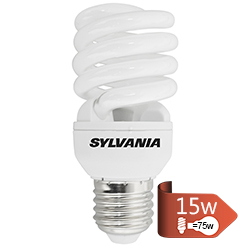 Foco Ahorrador Espiral T2  15w  E-27  Sylvania