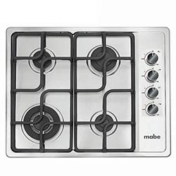Cocina  a Gas con 4 Quemadores Acero Inoxidable de 60X50cm Mabe