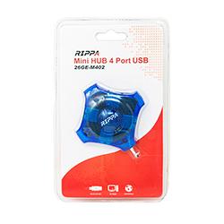 Hub Rippa Mini 4 Puertos USB Azul 26Ge-M402