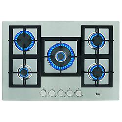 Cocina a Gas con 4 Quemadores + 1 Doble Llama de Acero Inoxidable de 75x51cm Teka