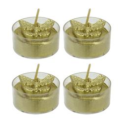 Vela Tealight Mariposa Dorado 4 Unidades