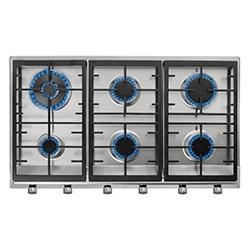 Cocina a Gas con 5 Quemadores + 1 Doble llama de Acero Inoxidable 86x50cm Teka