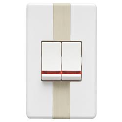 Interruptor Blanco Doble con Luz Piloto Argento Lumicino