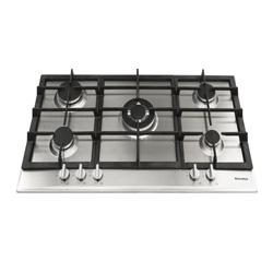 Cocina a Gas con 4 Quemadores + 1 Triple Llama de Acero Inoxidable 86x50cm  Mastermaid