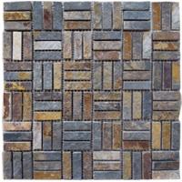 Mosaico de Piedra Mix Gris Naranja 30.5x30.5cm